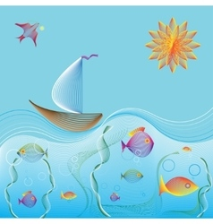 Sailing boat in ocean and underwater world vector