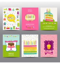 Set of birthday brochures and cards vector