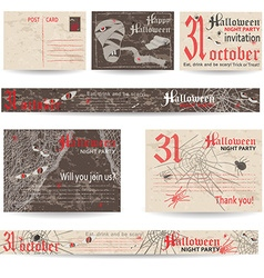 Set of vintage post cards and banners for vector