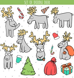 Set color deer doodle different poses for design vector