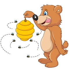 Cute bear holding Bee hive vector image