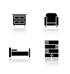Bedroom furniture drop shadow icons set vector