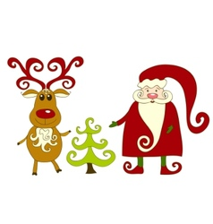 Santa reindeer and tree vector