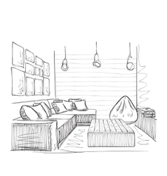 Sketch of interior beautiful room vector