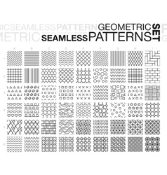 Black and white geometric seamless patterns set vector