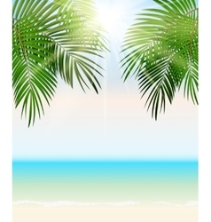 Summer time palm leaf seaside background vector