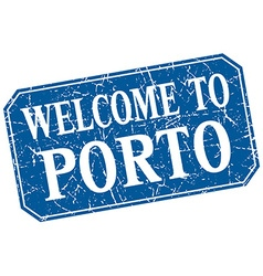 Welcome to porto blue square grunge stamp vector