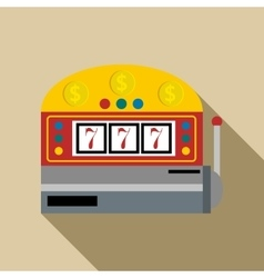 Slot machine with lucky seven icon flat style vector
