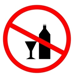 No alcohol sign in red ring vector