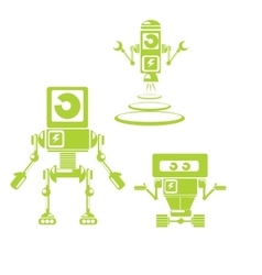 Flat design style green robots and cyborgs vector