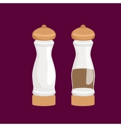 Salt and pepper kitchenware icons set vector