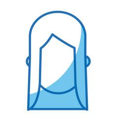 Blue line head girl no face design vector