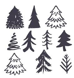 Christmas tree hand drawn vector