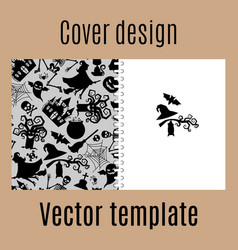 Cover design with halloween pattern vector