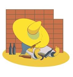 Drunken man with a gun lies near the wall vector