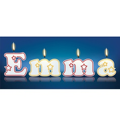 Emma written with burning candles vector