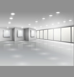 Empty gallery interior with light windows vector image