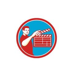 Film crew clapperboard circle retro vector