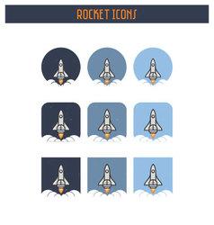 Flat Rocket Icon set vector image