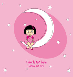 girl sitting on the moon vector image vector image