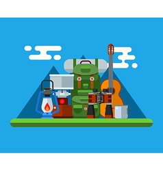 Hiking and Camping Gear Concept vector image vector image