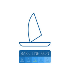isolated boat outline yacht element can be vector image