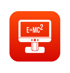 Monitor with einstein formula icon digital red vector