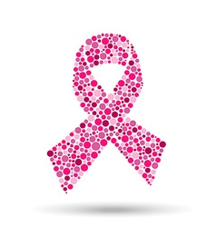 Pink circle ribbon for breast cancer awareness vector