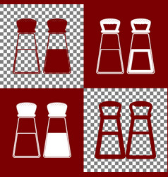 Salt and pepper sign bordo and white vector