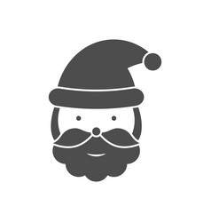 Santa claus head black icon vector
