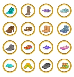 Shoe set cartoon style vector