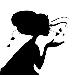silhouette of a geisha in kimono vector image vector image