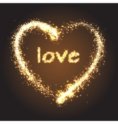 Sparkling golden heart vector