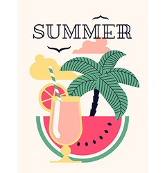 Summer Poster with a Cocktail vector image vector image