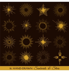 Sunbursts and stars - hand-drawn vector