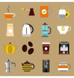 Tea and coffee icons set flat style vector image vector image