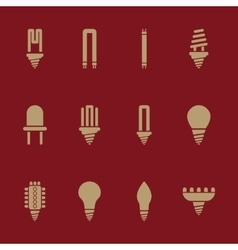 The light bulb icon set of 12 icons lamp and vector