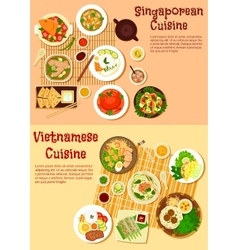 Vietnamese and singaporean cuisine flat icon vector image