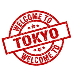 Welcome to tokyo red stamp vector