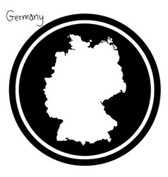 White map of germany on black circle vector