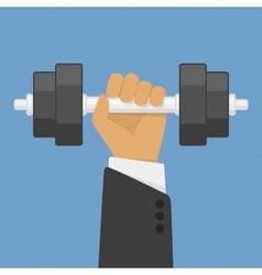 Hand holding dumbbell vector image