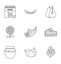 Gratitude celebration icons set outline style vector