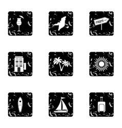 Attractions of miami icons set grunge style vector