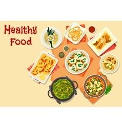 Vegetarian dinner icon for healty food design vector