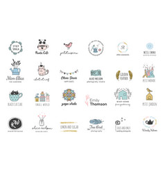 hand drawn simple and chic bohemian logo set vector image