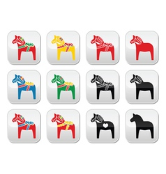 Swedish dalecarlian dala horse buttons set vector