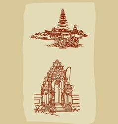 Vintage balinese temple sketches vector