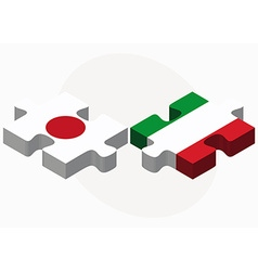 Japan and italy flags in puzzle vector