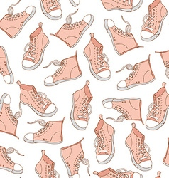 Seamless pattern with pink sneakers sport vector