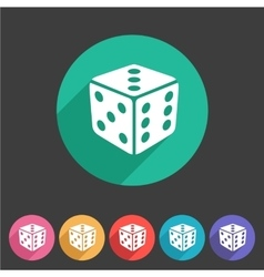 Dice game cube icon flat web sign symbol logo vector